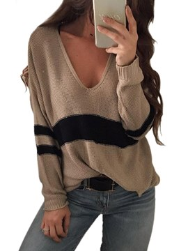 Ericdress Stripe Loose Casual V-Neck Pullover Knitwear