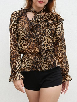 Ericdress Leopard Print Pullover Long Sleeve Blouse