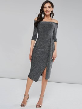 Ericdress Pleated Three-Quarter Sleeve Knee-Length Off-The-Shoulder Pullover Dress