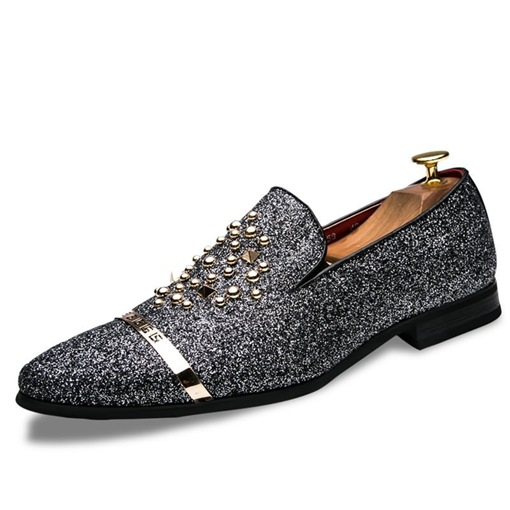 Ericdress Sequin Rivet Pointed Toe Slip-On Men's Shoes