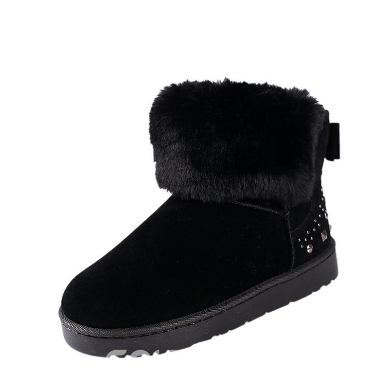 Ericdress Bow Plain Round Toe Slip-On Women's Snow Boots