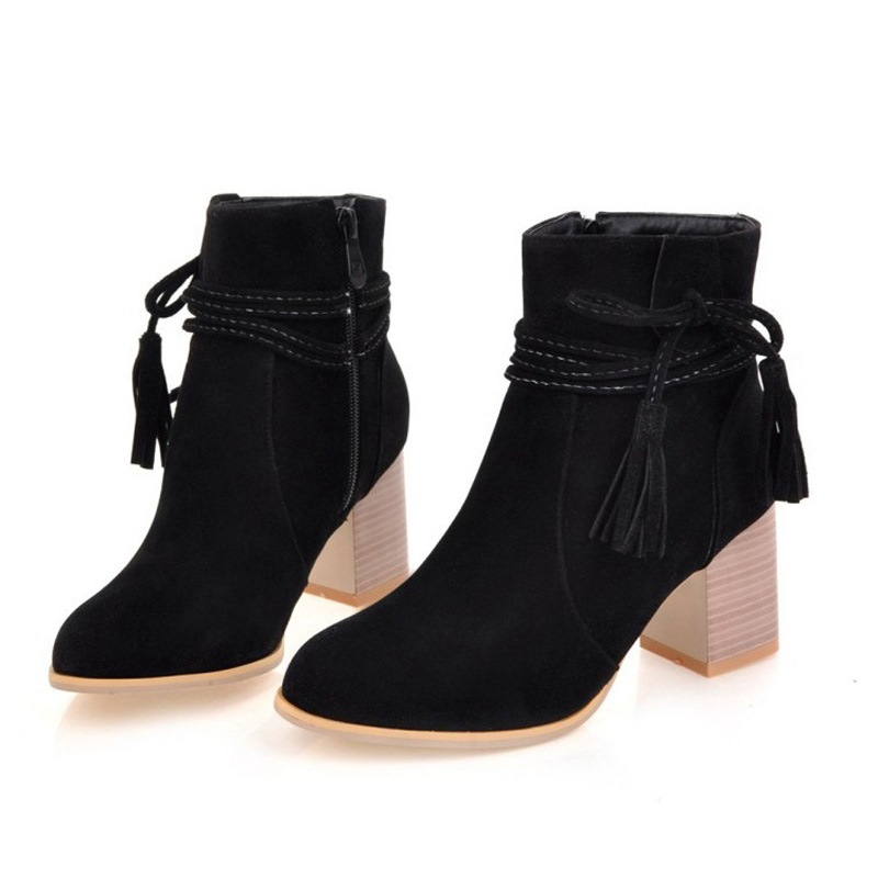 Ericdress Fringe Round Toe Chunky Heel Women's Ankle Boots