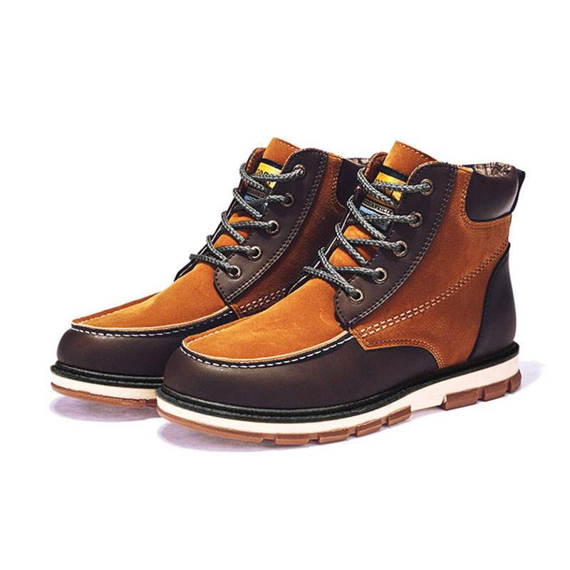 Ericdress Patchwork Lace-Up Front Men's Martin Boots