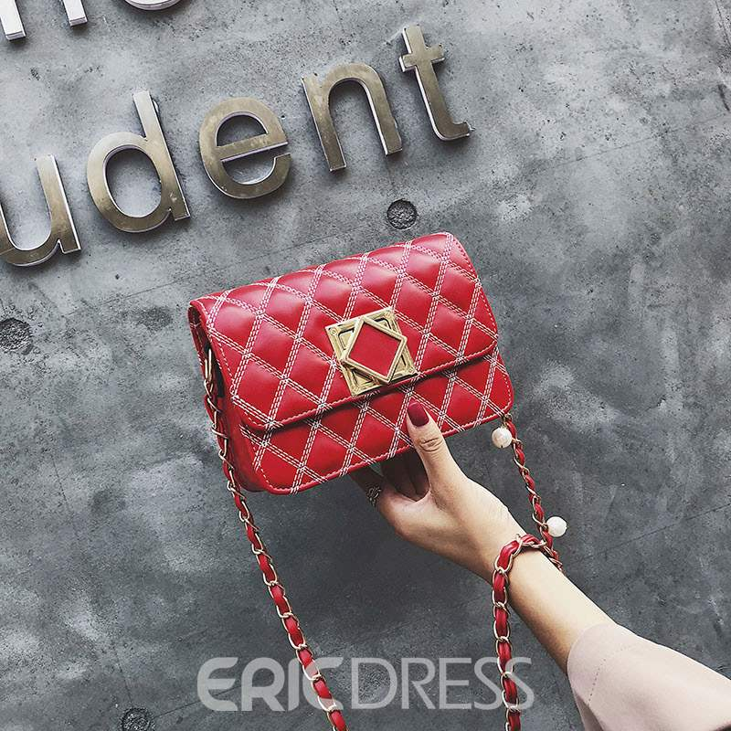 Ericdress Plain Thread PU Rectangle Crossbody Bags