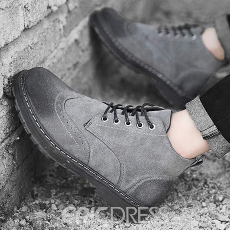 Ericdress PU Round Toe Lace-Up Men's Martin Boots