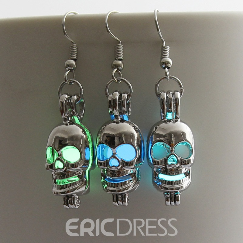 Ericdress Light Halloween Skull Earrings