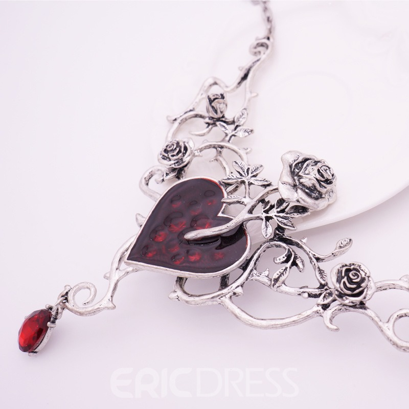 Ericdress Red Heart Rose Neacklace