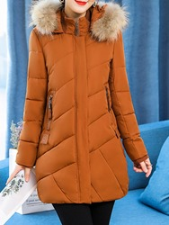 Image of Ericdress Hooded Thick Plain Zipper Mid-Length Long Sleeves Coat