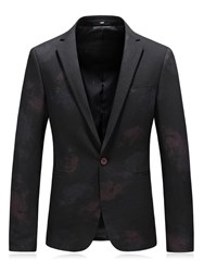 Ericdress Plain Printed One Button Notched Lapel Slim Mens Casual Blazer