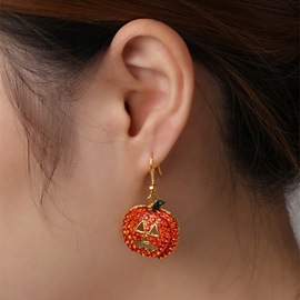 Ericdress Halloween Diamante Pumpkin Alloy Earrings