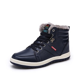 Ericdress Plain Round Toe Lace-Up Men's Snow Boots