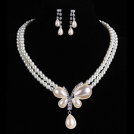 Ericdress Wedding Butterfly Pearl Jewelry Set