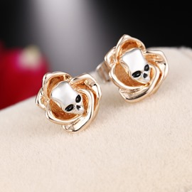 Ericdress Golden Rose Skull Halloween Earrings