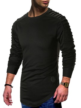 Ericdress Plain Asymmetric Pleated Scoop Mens Sweatshirts