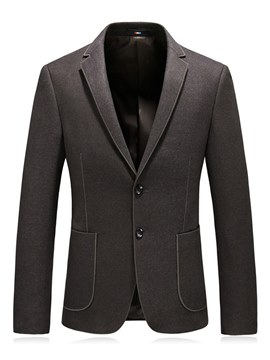 Ericdress Plain Two Button Slim Notched Lapel Mens Casual Blazer