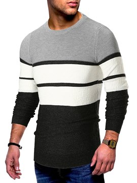 Ericdress Color Block Striped Mens Casual Sweaters