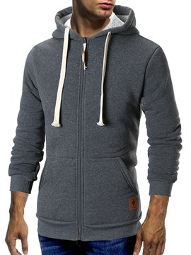 Ericdress Plain Hooded Zipper Mens Casual Cardigan Hoodies
