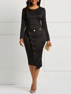 Ericdress Long Sleeves Office Lady Black Women's Dress
