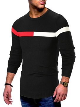 Ericdress Striped Color Block Scoop Mens Pullover Sweaters