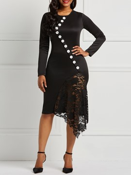 Ericdress Long Sleeves Bodycon Lace Patchwork Women's Dress