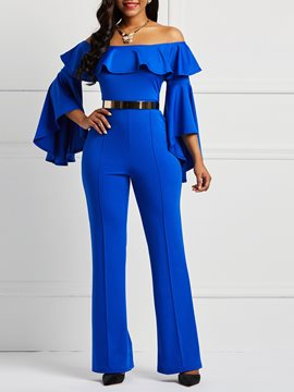 Ericdress Ruffles Off-Shoulder Flare Sleeve Women's Jumpsuits(Without Belt)