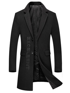 Ericdress Plain Embroiery Mid-Length Slim Mens Slim Trench Coats