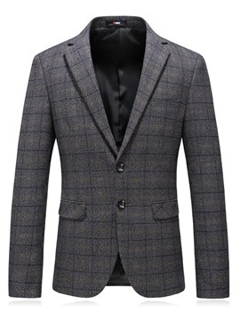 Ericdress Plaid Gray Slim Notched Lapel Mens Casual Blazer