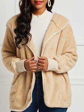 Ericdress Loose Plain Mid-Length Casual Teddy Coat