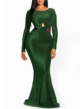 Ericdress Long Sleeves Mermaid Backless Women's Party Dress