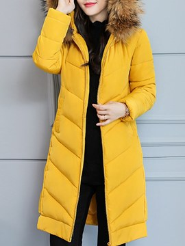 Ericdress Plain Zipper Hooded Thick Long Sleeves Down Coat