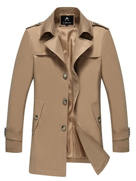 ericdress revers simple boutonnage trench-coat homme