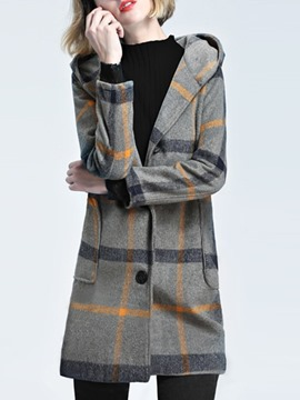 Ericdress Hooded Plaid Mid-Length Long Sleeves Coat
