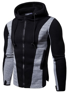 Ericdress Patchwork Zipper Slim Hooded Mens Casual Hoodies