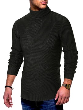 Ericdress Plain High Neck Mens Casual Sweaters