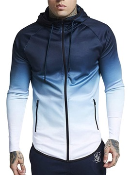 Ericdress Color Block Zipper Hooded Mens Sport Jacket