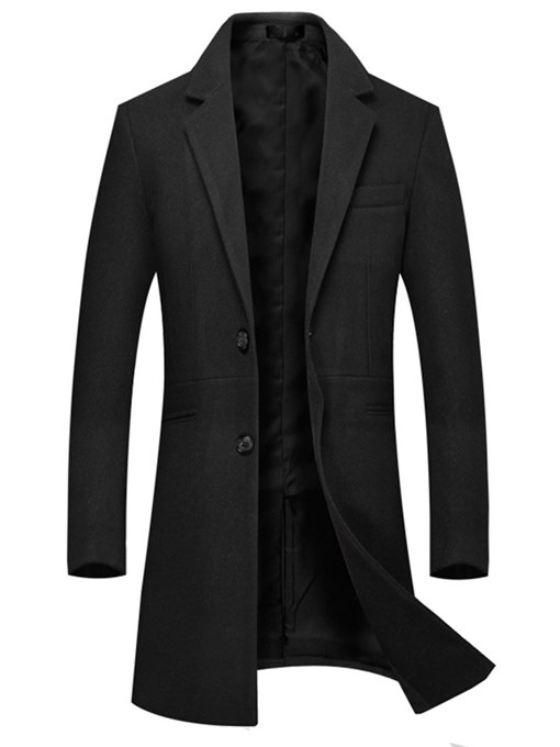 Ericdress Plain Two Button Mid-Length Mens Casual Woolen Coats