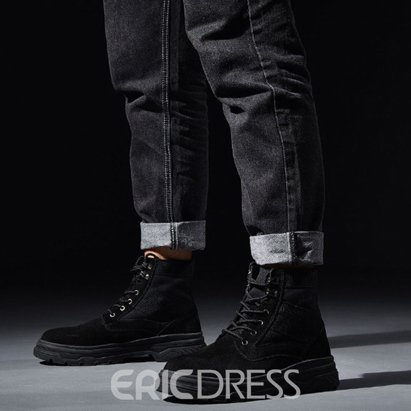 Ericdress Patchwork Round Toe Men's Martin Boots