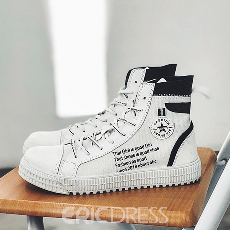 Ericdress Color Blcok High-Cut Upper Lace-Up Men's Casual Shoes