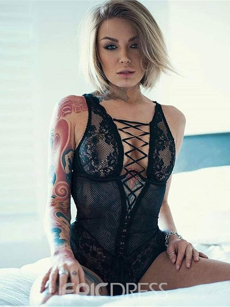Ericdress Hollow Lace-Up Sexy Teddy