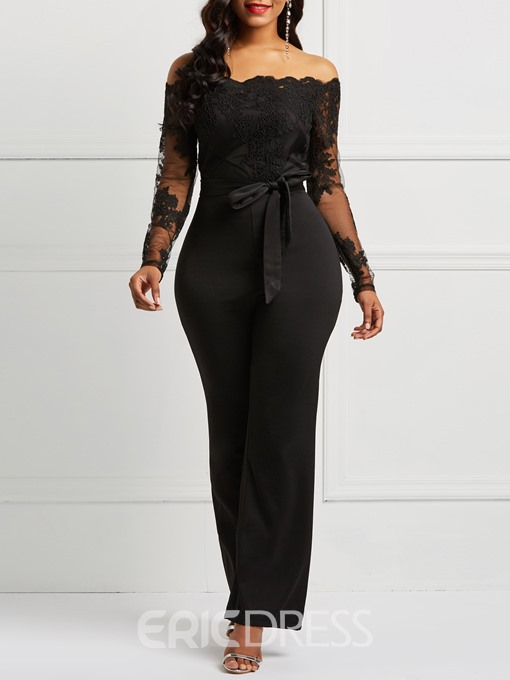 Ericdress Belt Off Shoulder Lace Patchwork Women's Jumpsuit