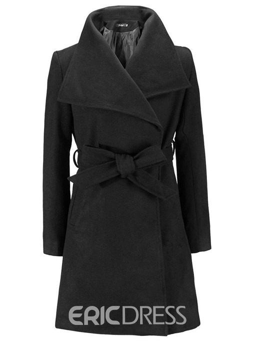 Ericdress Lace-Up Lapel Belt Long Sleeves Coat