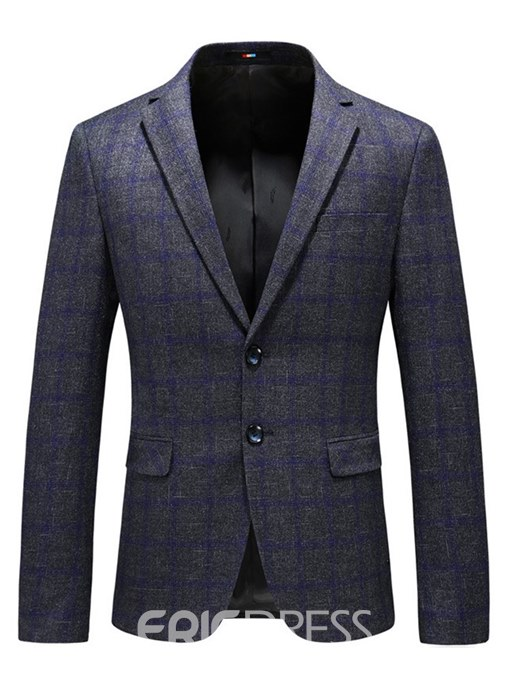 Ericdress Plaid Patchwork Slim Casual Mens Blazer Jacket