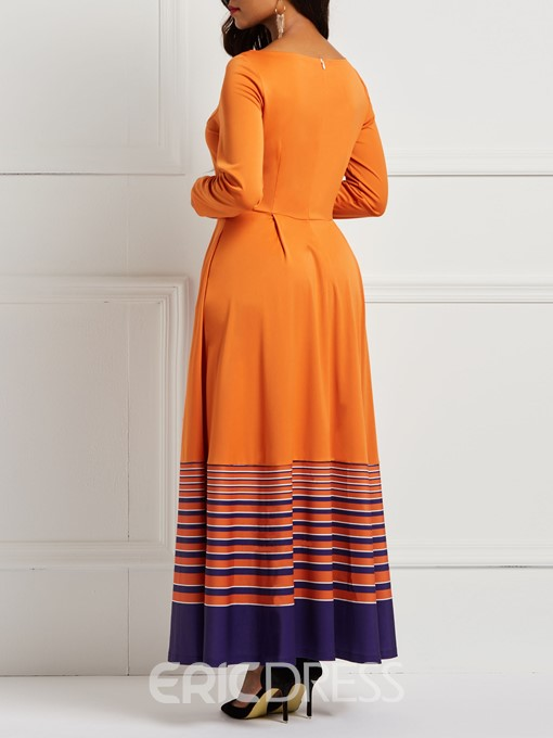 Ericdress A-Line Pullover Orange Stripe Print Pocket Women's Dress