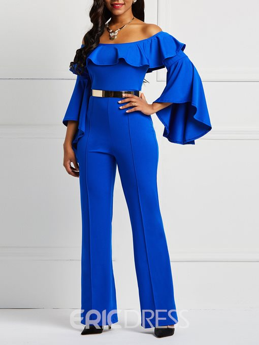 Ericdress Ruffles Off-Shoulder Flare Sleeve Women's Jumpsuit(Without Waistband)