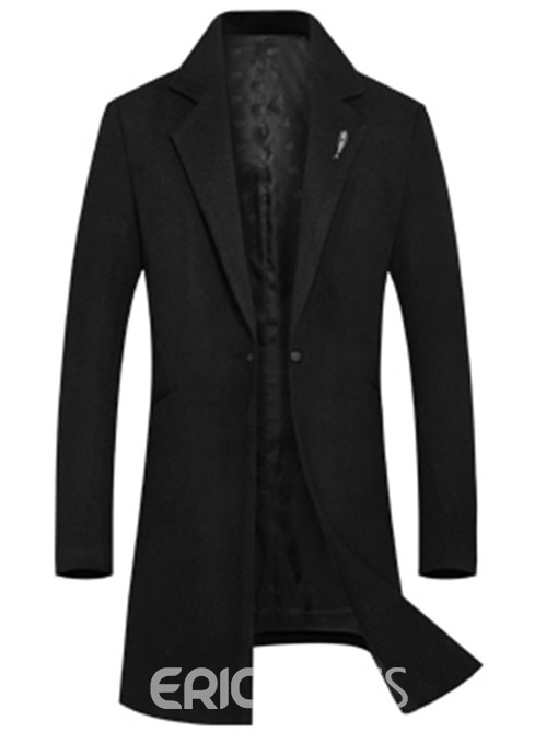 Ericdress Plain Mid-Length Slim One Button Mens Wool Coats