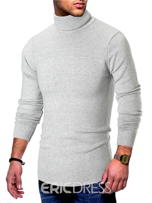 Ericdress Plain Slim High Neck Mens Casual Sweaters