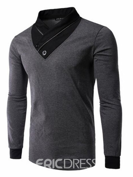 Ericdress Color Block Patchwork Mens Stand Collar T Shirts