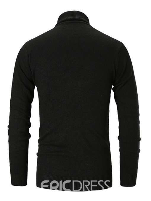 Ericdress Patchwork High Neck Plain Mens Slim Casual Sweaters