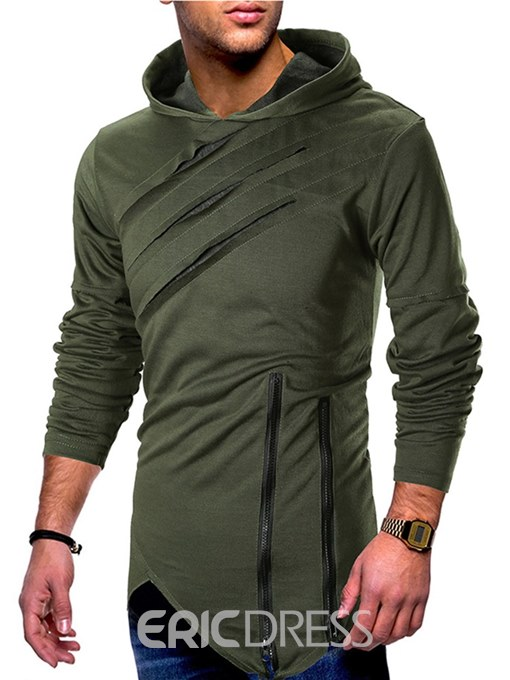 Ericdress Plain Asymmetric Hooded Zipper Mens Casual Hoodies