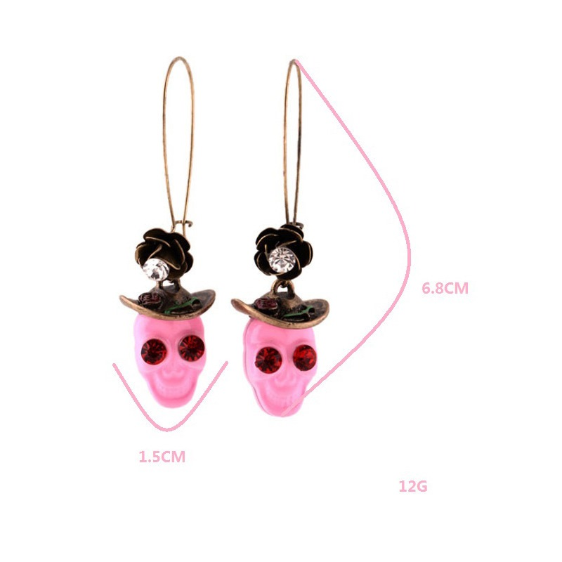 Ericdress Halloween Pink Skull Earrings